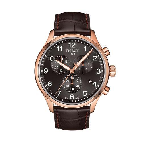 Reloj Tissot Chrono XL Classic para hombre de cuero marrón 1166173605701