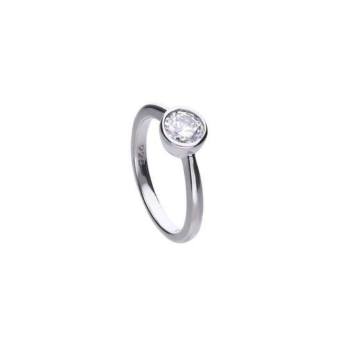 Anillo Diamonfire Carats solitario circular de Plata con Zirconia Blanca 6118131582