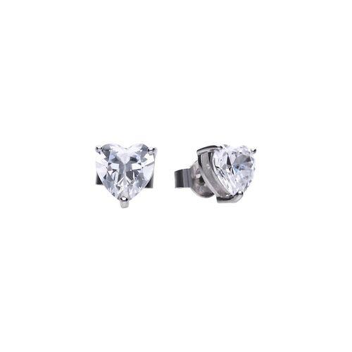 Pendientes de plata con zirconia en forma de Corazón Diamonfire