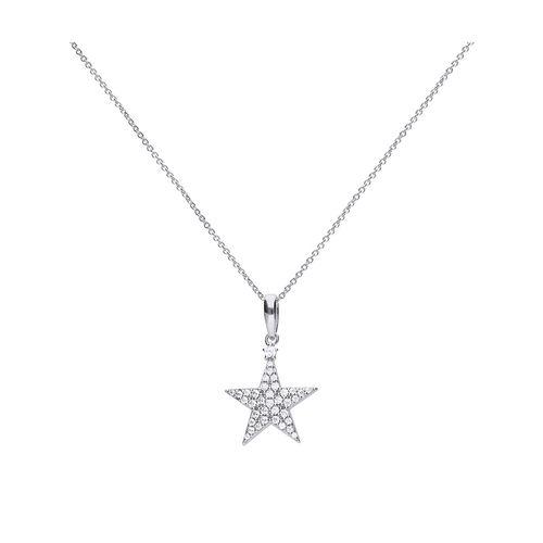 Collar estrella de plata con zirconia y ajuste pavé Diamonfire