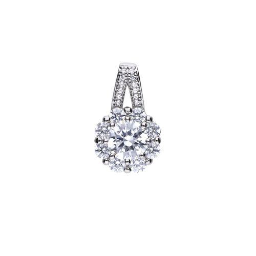 Colgante solitario de plata con zirconia blanco y motivo floral Diamonfire