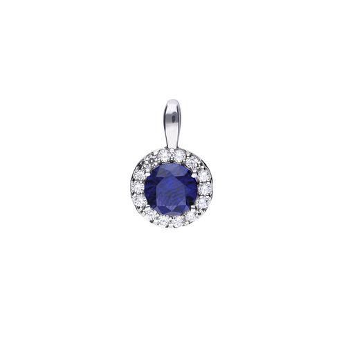 Colgante redondo de plata azul con zirconia y pavé Diamonfire