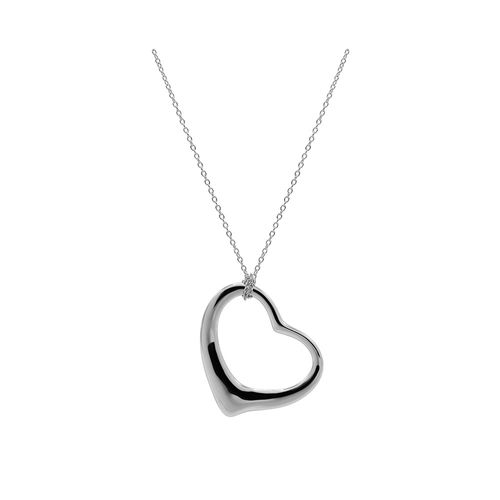 Collar Carmín de Plata con colgante de corazón calado