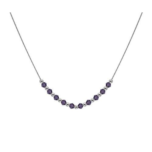 Collar Carmín combinado de Plata y Cristales violeta
