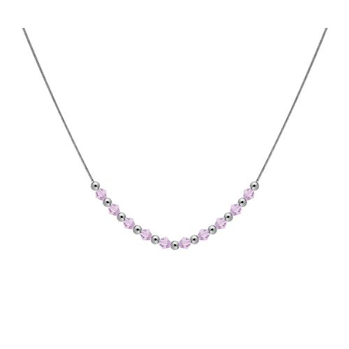 Collar Carmín combinado de Plata y Cristales Rosa