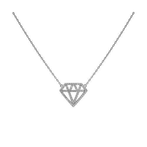 Collar Carmín de Plata Diamante con Zirconias Blancas