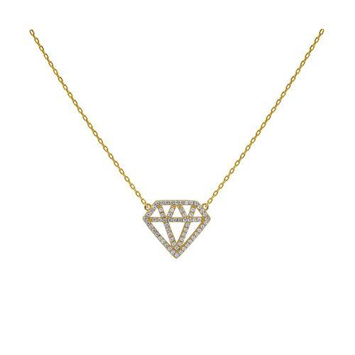 Collar Carmín de Plata Baño Dorado Diamante con Zirconia Blanca