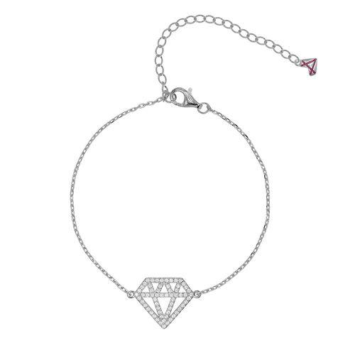 Pulsera Carmín Plata 925 Diamante con Zirconia Blanca