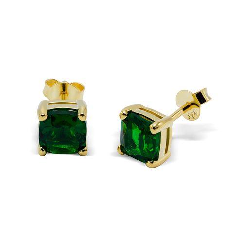 Aros Carmin Plata 925 Baño Dorado con Zirconia Verde