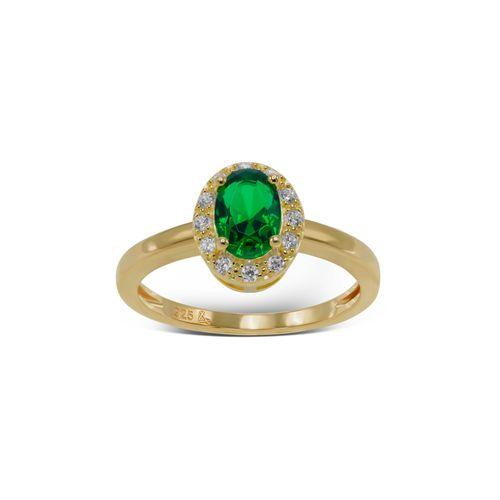 Anillo Carmín Plata 925 Baño dorado Piedra verde con Zirconitas blancas