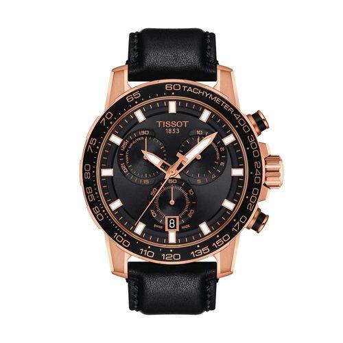 Reloj Tissot Supersport Chrono para hombre de cuero negro 1256171604100