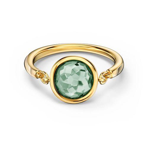Anillo Swarovski Tahlia. Baño de oro dorado - Cristal Verde.