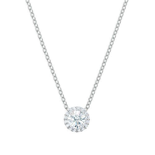 Collar Swarovski Angelic Round plateado con cristales en blanco