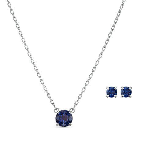 Set Swarovski Attract Round plateado con cristal azul