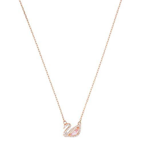 Collar Swarovski Dazzling Swan plateado con cristales en blanco y rosado