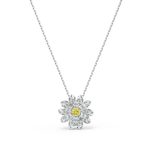 Collar Swarovski Eternal Flower plateado con cristales en blanco y amarillo