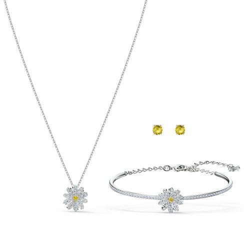 Set Swarovski Eternal Flower plateado con cristales blanco y amarillo