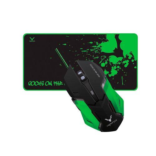 Kit Gamer Wesdar de Mouse + Mouse Pad USB Negro y verde