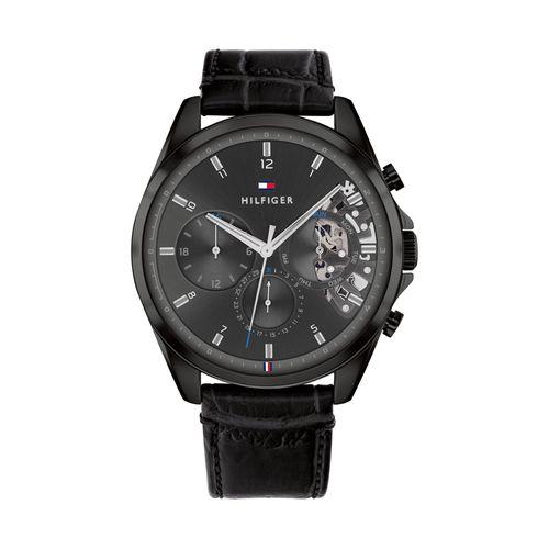 Reloj Tommy Hilfiger Baker para hombre de cuero negro  1710452