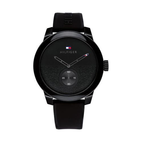 Reloj Tommy Hilfiger Denim para hombre deportivo de silicona negro 1791802