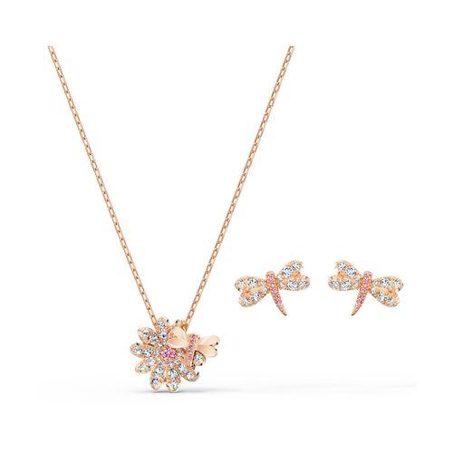 Set Swarovski Eternal Flower Dragonfly rosé con cristales en blanco y rosa