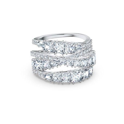 Anillo Swarovski Twist Wrap con cristales en blanco