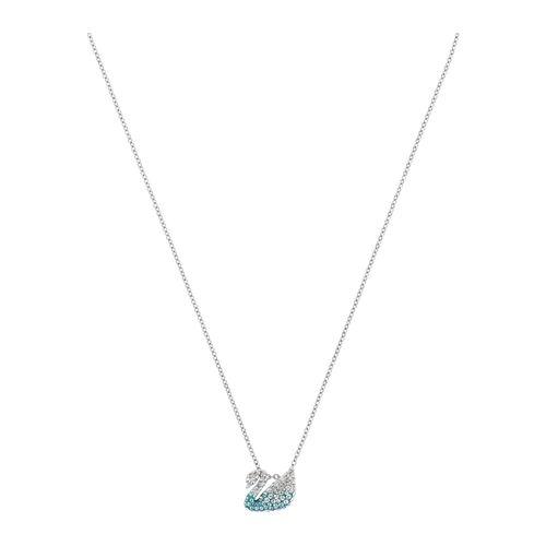Collar Swarovski Iconic Swan con cristales en celeste
