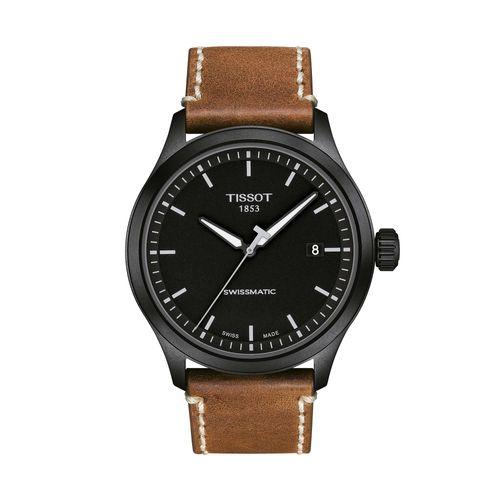 Reloj Tissot Gent XL Swissmatic para hombre con correa de cuero marrón