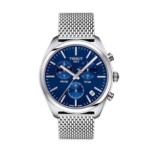 Reloj Tissot PR 100 Chronograph para hombre con correa de acero plateado