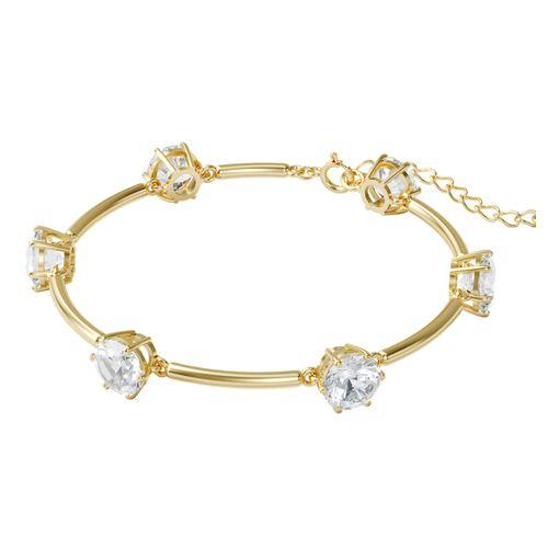 Brazalete Swarovski Constella dorado con cristales blancos
