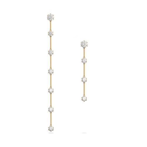 Aros Swarovski Constella dorados con cristales blancos asimétricos