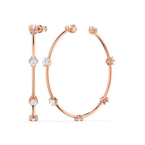 Aros Swarovski Constella rosé con cristales blancos