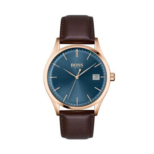 Reloj Boss Commissioner para hombre de cuero marrón 1513832