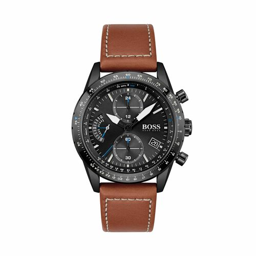 Reloj Boss Pilot Edition Chrono para hombre de cuero marrón 1513851
