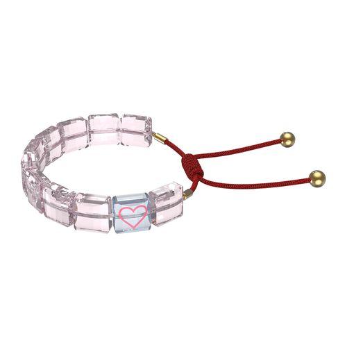 Pulsera Swarovski Letra Corazón con cristales rosa