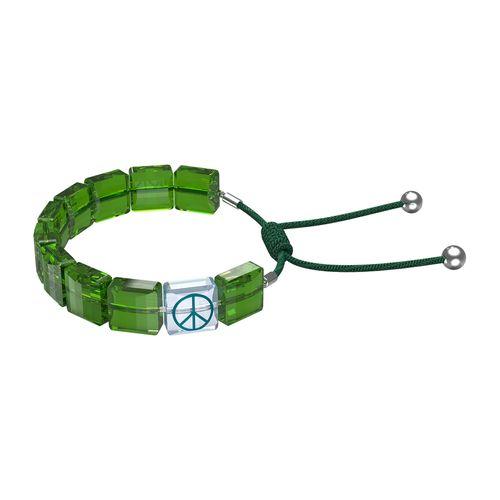 Pulsera Swarovski Letra Peace con cristales verde