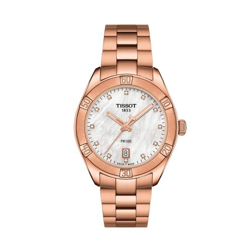 Reloj Tissot PR 100 Sport Chic para mujer de acero rosé 1019103311600