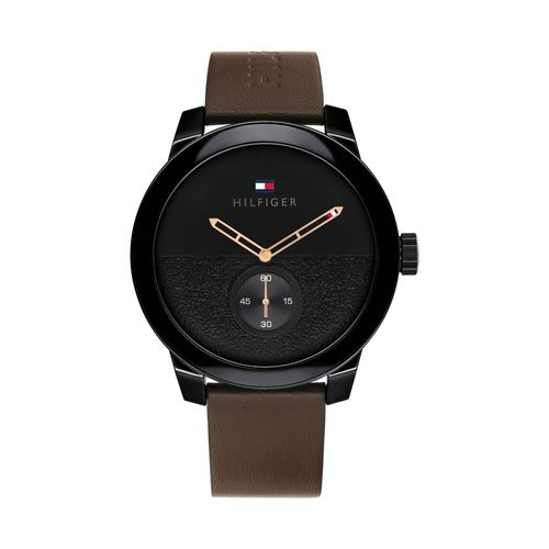 Reloj Tommy Hilfiger Denim para hombre de cuero marrón 1791801