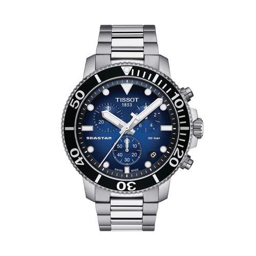 Reloj Tissot Seastar 1000 Chronograph para hombre de acero plateado 1204171104101