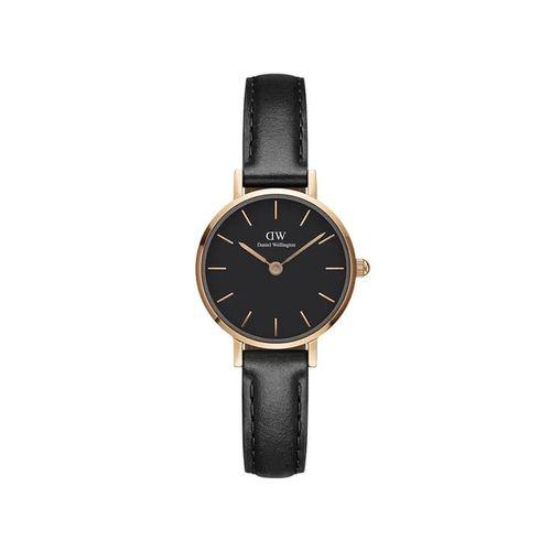 Reloj Daniel Wellington Petite Sheffield de cuero negro y rosé